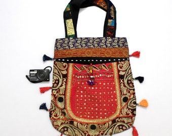 Handmade Ethnic Designer Tribal Banjara Patchwork Embroidered Hippy Fashionable Stylish Trendy Hippie Gypsy Boho Bohemian Carry Bag G264