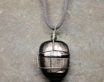 Hypersthene Wire Wrapped Pendant Necklace