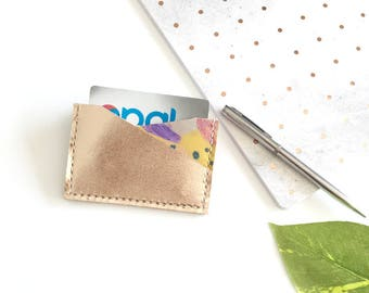 Metallic cardholder, business card case, hand painted wallet.