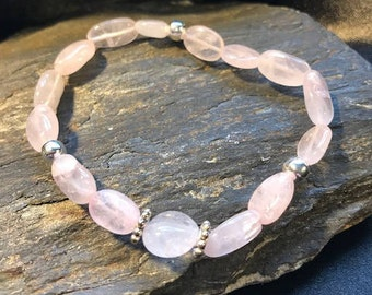 Soft Rose Quartz Gemstone Women's Bracelet