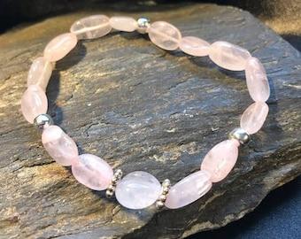 Soft Rose Quartz Gemstone Women's Bracelet