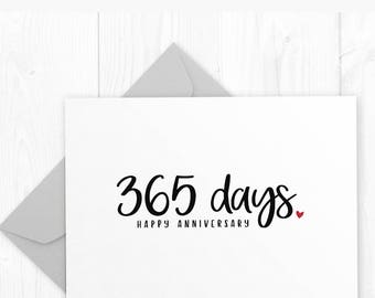 First Anniversary Printable Card - 365 days Anniversary Card for Him, First Wedding Anniversary Card for Her, First Anniversary Card for Him