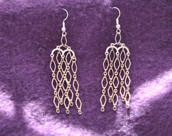 Sterling Silver Wire Link Earrings   Hand Made