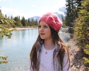Lacy Beret Hat PATTERN: Kids Hat Pattern, Crochet Hat, Bow Hat, Lacy Hat Pattern, Kids Beret Hat, Girls Beret Hat, Vintage Lace Hat, WeeYarn