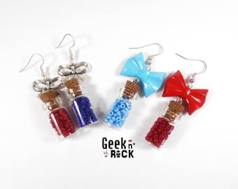 SALE 50% Geek - mana and health potion vials earrings
