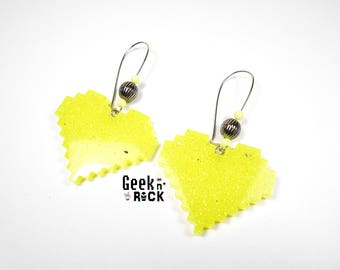 Geek neon yellow glitter pixel heart earrings