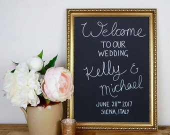 Gold Wedding Chalkboard Frame, Gold Wedding Decor, Wedding Welcome Sign, Wedding Menu, Custom Wedding Sign, Framed Chalkboard in Two Sizes