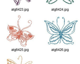 Butterfly-Sketches ( 5 Machine Embroidery Designs from ATW ) XYZ17E