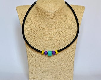 Handmade circles necklace made of turquoise purple yellow circles