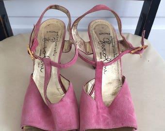 Vintage Italian Garolini Pink T-Strap Heels Size 8