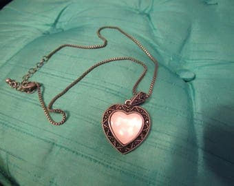 """8 1/2"""" long Heart Shaped with Marcasite Stones around the Edge"""
