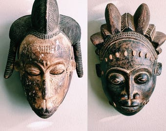 Antique Pair of Hand-Carved Tribal Masks / Bohemian Wall Decor