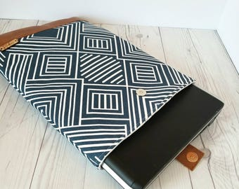 Navy Blue Laptop Sleeve, Geometric Laptop Case, Tablet Sleeve, Tablet Case, Macbook Sleeve, Macbook Case, 12 inch, 13 inch, 14 inch, 15 inch