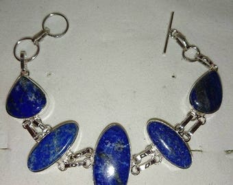 Bracelet in silver and Lapis Lazuli