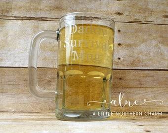 Daddy Survival Beer Mug, Father's Day Beer Mug, Daddy Beer Mug, Dad Beer Mug, Custom Beer Mug, Beer Mug