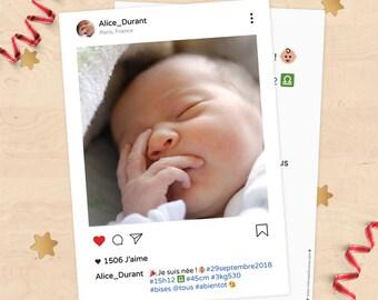 (Girl or boy) customizable birth announcement - Style Instagram, social media publication