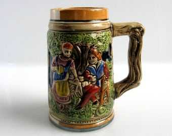 German Beer Mug / Stein / Hand Painted Ceramic Beer Stein / West Germany / Mid Century / German Pottery / Man Cave / New Old Stock / Mint