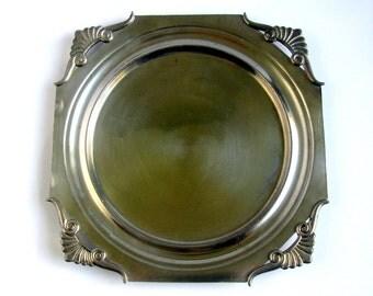 """30s / Art Deco / Swedish / Pewter Platter / Tray / Sweden / Svenskt Tenn / Rare Shape And Design / 1935 / 9,5''x 9,5""""/ Scandinavian Design"""