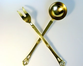 50s / Italian / Large Brass Ladle and Fork Set / Pair of Quality Brass Utensils / Mid Century / Modern / Serving Set / Made in Italy / Mint
