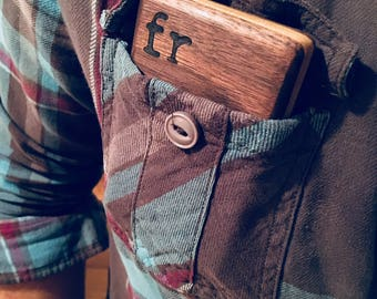 Slim-line Wooden Business Card Case - Black Walnut and Maple - Card Wallet