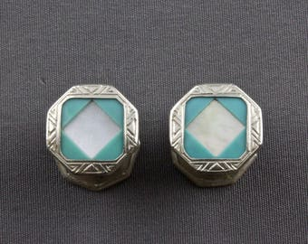 Vintage Art Deco Mother Of Pearl And Teal Celluloid Snap Cufflinks By Stag Brand