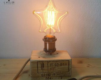 Wood lamp_Natural_Edison_Industrial Lightning_Palette_Upcycle_Recycle_Star bulb_Bedside lamp_Star_Rope