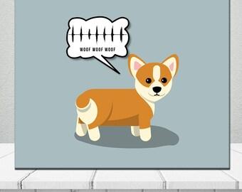 Corgi Bark Sound Birthday Gift Custom Sound Wave Anniversary Birthday Soundwave  Labrador Pug Dog Cat Animal Pet Waveform Canvas
