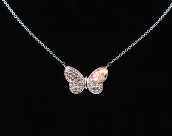 Butterfly Necklace, Swarovsky Crystals, Split Mother of Pearl, Pave Radience Pendant, Light Peach(Beige) Color, Unique Style