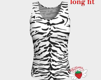 Tiger Tank Top, White Tiger Women's fitted Top, Workout Clothing, Fitness Wear, Snow Tiger, Animal Print, Gift for Her, Ladies Gym Shirt