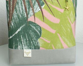 """Cosmetic bag """"pink Jungle""""-vegan/pink jungle leaves//cosmetic bag/Make up bag/Ultrasuede"""