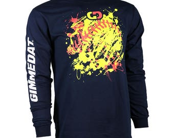 GIMMEDAT Softball Explosion Long Sleeve Softball T-Shirt, Softball Shirts, Softball Gifts - Free Shipping!