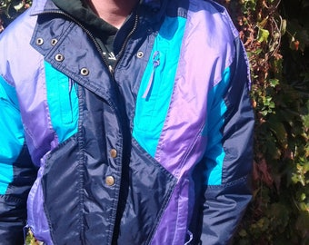 "Awesome 80's / 90's Vintage Teal Purple Black Parka Winter Jacket Bomber ""Rugged Terrain"""