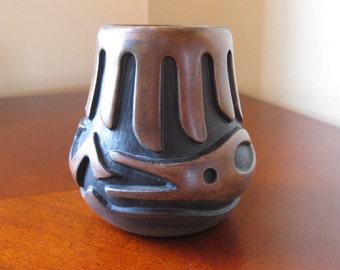 Native American Jemez Pueblo Pottery, Small Vase, Signed Carol Grace Loretto (Cg), Avanyu, Southwest Pottery, 1970s