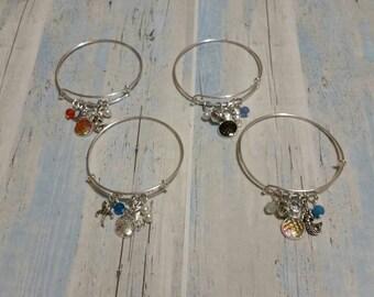 Nautical bracelet, charm bangle, charm bracelet, expandable bangle, silver metal bangle, mermaid scale bracelet, mermaid bangle, unique gift