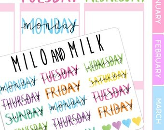 Weekday stickers | Planner Stickers | | ECLP Compatiable