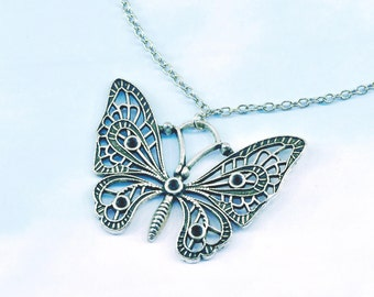 Silver butterfly necklace, silver butterfly pendant, large butterfly necklace, butterfly pendant, insects, wildlife, nature gift