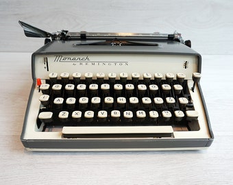 Vintage Metal Typewriter, Sperry Rand Remington Monarch, Portable, Industrial Style and in great working condition
