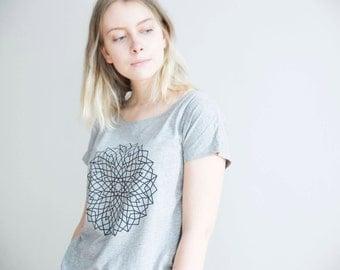 FREE DELIVERY! / Loose women Mandala T-Shirt for Justice, Freedom & Equality / Sacred grey Mandala Shirt / Mandala Top / Mandala Tee