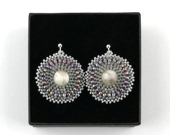 Moonstone earrings, Seed bead Beadwoven earrings, Gray gemstone jewelry, Big Beadwork earrings, Large Boho Beaded jewelry, Neutral colors
