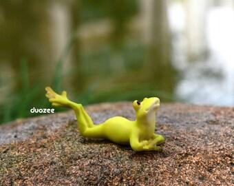 Miniature Enchanted Fairy Garden House Frog Figurine, On Tummy