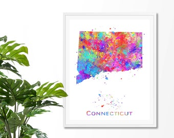 Connecticut Watercolor Map #3 Art Print, Poster, Wall Art, Contemporary Art, Modern Wall Decor, Office Decor