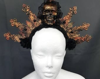 MADE TO ORDER Halo bronze gold copper black skull headpiece / bronze gold copper black headpiece