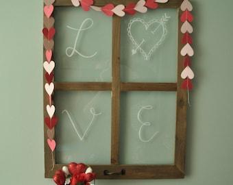 Heart String Banner, Heart Banner, Valentine's Day Banner, Valentine's Day Decor, Pink and Red Banner, Sewn Paper Banner
