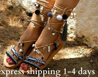 LIBERIAN GIRL / Pom pom sandals/ Gladiator sandals/ boho sandals/ tie up sandals/ friendship sandals/ black sandals