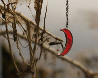 Red moon necklace, witch necklace, wiccan necklace, wicca necklace, Crescent moon necklace, occult necklace, pagan necklace, gothic necklace