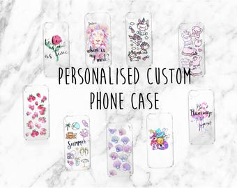 Personalised, Custom Designed Phone Case, Hand Painted for iPhone or Samsung Lion Choose Text, Quotes, Names, Favourite Pattern, Pets, Hobby