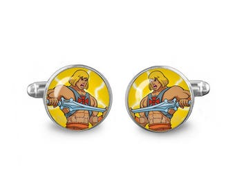 He Man Cuff Links 16mm Cufflinks Gift for Men Groomsmen Geeky Cuff links Masters of the Universe Comics Jewelry