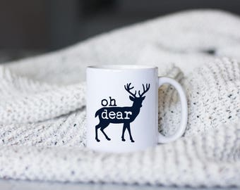 oh dear coffee mug // deer mug // fall mug // winter coffee mug // deer decor // coffee mug gift