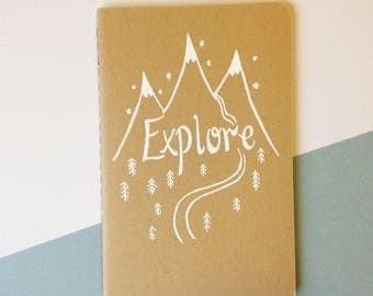 Hand-lettered 'Explore' Pocket Notebook - Original Hand Illustrated Sketchpad - Blank Sketchbook - Moleskine Kraft Journal - Adventurous