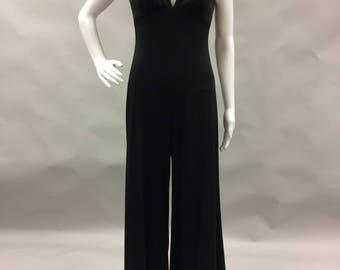 Hot 1970s Black Disco Jumpsuit  | Made in the USA | Fits 6-8